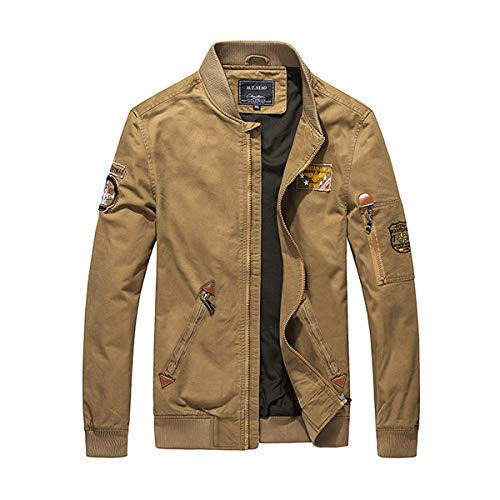 TANGBC Men's jacket, casual youth baseball jacket, draped golden cut, warm and cold cotton material, windproof and comfortable - - Large