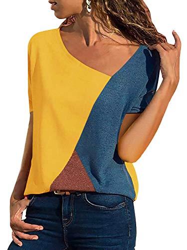 T-Shirt Damen V Ausschnitt Kurzarm Sommer Casual Farbblock T Shirt Top Bluse Oberteil (Kurzarm-Gelb, XX-Large)
