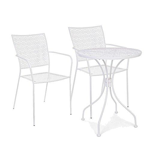 Scaramuzza Modo Tavolo e Sedie da Giardino in Ferro, Tavolo Tondo, Colore Bianco
