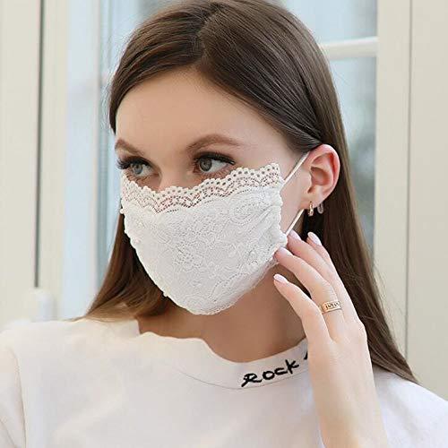 Sttiafay Máscara facial de encaje de perlas para boda, novia, sexy, estampado...