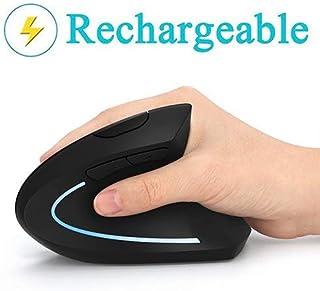 Ratón Vertical Ergonómico Recargable USB inalámbrico Ratón, 2.4 G ratón óptico de Alta precisión para PC/portátil/Mac, rep...