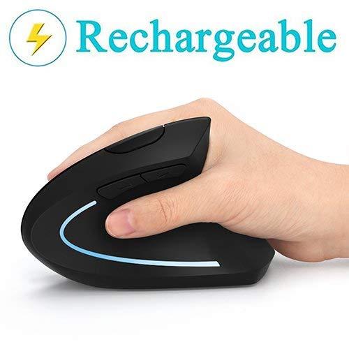 Mouse Verticale Wireless USB ergonomico Ricaricabili Mouse, 2.4G scroll Endurance mouse ad alta precisione mouse ottico per PC/laptop/Mac, Palm rest Thumb pulsanti DPI regolabile,5 buttons-Nero