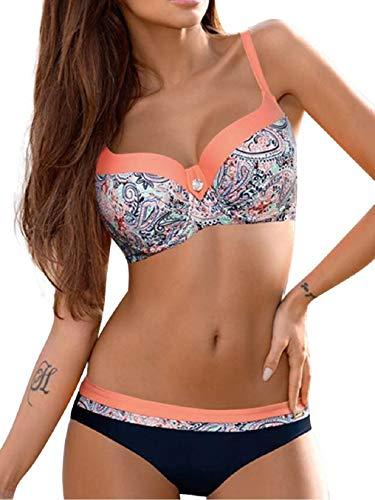 SHEKINI Costume da Bagno Donna Un Pezzo Intero Bikini Imbottito V-Collo Ruched Controllo Addominale Triangolo Costumi Interi Regolabile Tracolla Colore Solido Beachwear