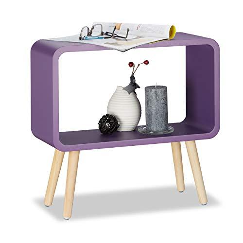 Relaxdays Tavolino da Salotto e Comodino Basso, Legno, Viola, 50 x 53 x 20 cm