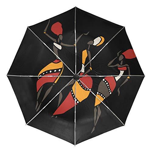 FANTAZIO Paraguas de Viaje Sexy Africano para Mujer con Apertura automática, Ligero