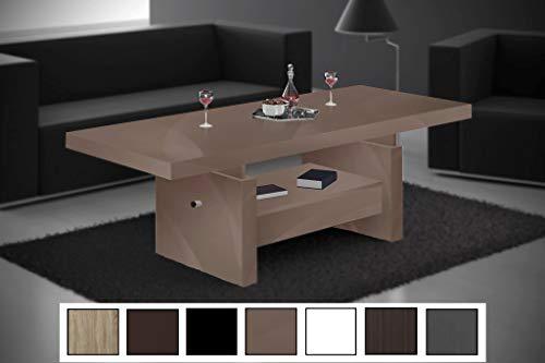 HU Design Couchtisch Aversa H-111 Hochglanz Schublade höhenverstellbar ausziehbar (Cappuccino Hochglanz)