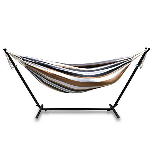 Double Hammock with Space Saving Steel Stand Waterproof Carrying Bag 2 Person, Multi Color