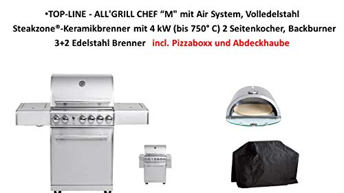 "Allgrill TOP-LINE - ALL'GRILL Chef ""M mit Air System, Volledelstahl Steakzone®-Keramikbrenner mit 4 kW (bis 750° C) 2 Seitenkocher, Backburner 3+2 Edelstahl Brenner incl. Pizzaboxx und Abdeckhaube"