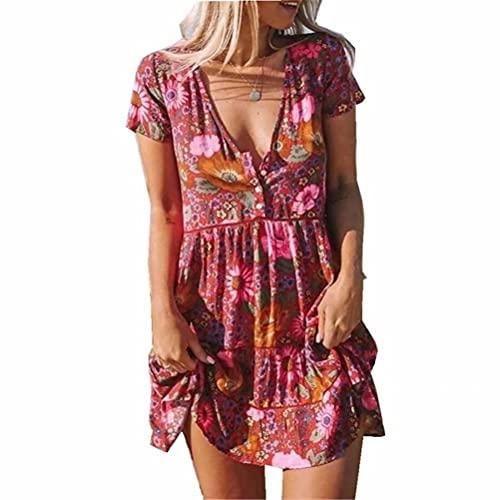ZFQQ Summer Women's Multicolor Printed V-Neck Short Sleeve Dress Red Wine
