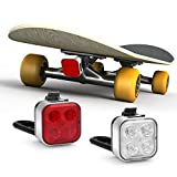 AKALE USB Rechargeable Skateboard Lights,Super Bright LED Longboard Lights Front and Back, Ideal Electric Skateboard Lights Kit,4 Light Mode (2 USB Cables and 4 Strap Included)