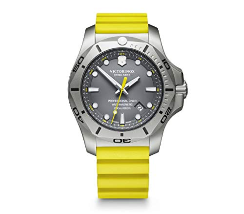 Victorinox I.N.O.X Professional Diver Yellow Rubber Strap Grey Dial Mens Watch 241844 45mm Mens Watches Mens Watches