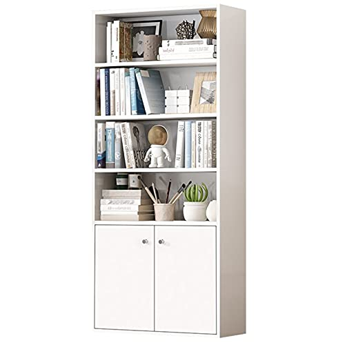 Librería de 6 niveles Estantería abierta con puertas Armario de almacenamiento Estante de libro de exhibición elegante para el dormitorio de la sala de estar de la oficina en casa Muebles decorativos