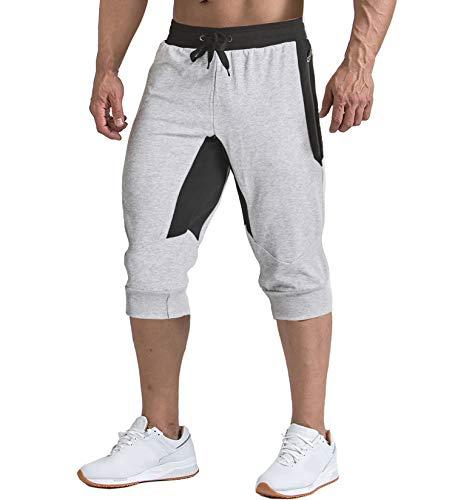 TACVASEN Men's Sport Shorts with Multi-Pockets Breathable Shorts Light Grey