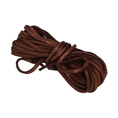 Pssopp 5M Cordón de Cuero Plano de Nailon Brillante de Doble Cara Cuerda de Terciopelo Accesorios de Bricolaje para Envolver para Collar para Mujer(marrón)