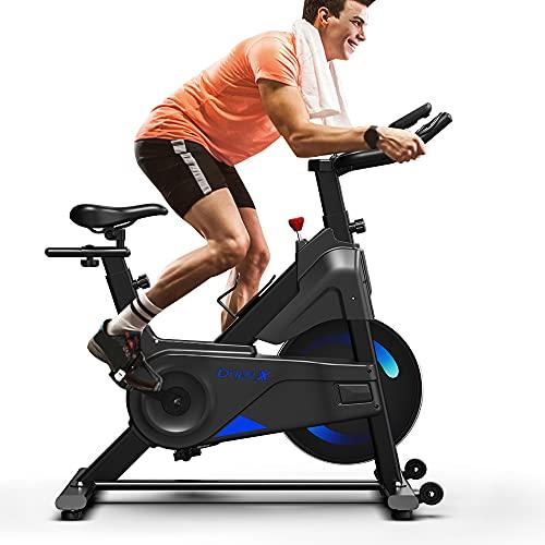 Dripex Vélo d'Appartement Vélo Spinning Ultra-Silencieux avec Capteur Cardiaque, écran LCD, résistance réglable,...