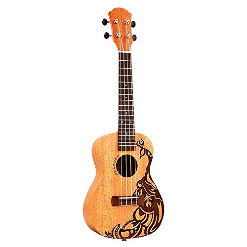 PNLD 23-Zoll-4 Strings Sapele Ukulele Palisander Griffbrett hawaiianische Gitarren-Musik-Instrument Phoenix-Vogel Ukelele (Farbe : Light Yellow, Größe : 23 inches)