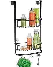 mDesign - Doucherek - schappen voor in de douche/hangmanden - voor al je douche-accessoires - praktisch deurbevestiging/zonder boren/2 etages - metaal - Mat zwart