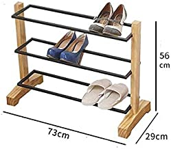 XDDDX Shoe Rack Multi-Layer Wrought Iron Simple Doorway Home Modern Minimalist Creative Solid Wood Storage Rack Rack (Size...