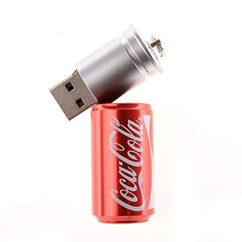Preisvergleich Produktbild USB-Stick Flash Drive Stück Speicherstick Laufwerk USB2.0 PVC Cartoon Tragbar Speichern Hohe Geschwindigkeit Sicherheit Creative Mode Klassisch Anime Dosen Getränk (64GB, Rojo)