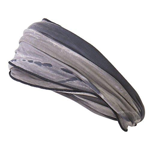 Casualbox Herren elastisch Stirnband Headband Hand gefärbt Japanisch Bandana Marble Schwarz