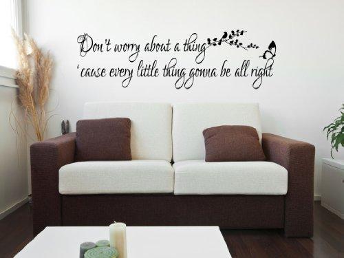 Dont Worry Bout A Thing Bob Marley autocollant de décalque de mur de vinyle Inspirational Quote Bedroom Art 100x55