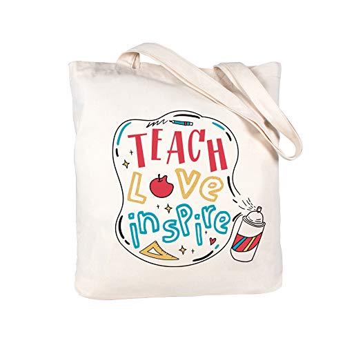 ElegantPark Teacher Gifts For Teacher Christmas gifts Teach Love Inspire Teacher Appreciation Gifts for Teacher Bag and Tote with Pocket Cotton Canvas