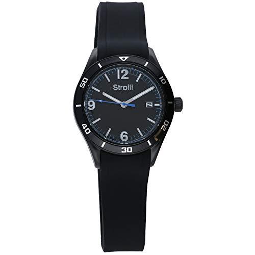 Stroili - Wimbledon orologio in acciaio con quadrante nero e cinturino in silicone nero per Uomo