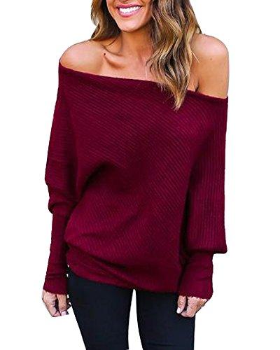 iMixCity Mujeres un Hombro/Fuera Hombro/Hombro frío Suéter de Hombro Manga Larga Batwing Pullover Tops Elegantes Blusas Sueltas (Rojo, L)