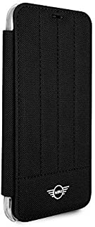 CG Mobile Mini Cooper Slim Fit Hard Case Pu Clear Book-Type Case for iPhone X iPhone Xs (Black)