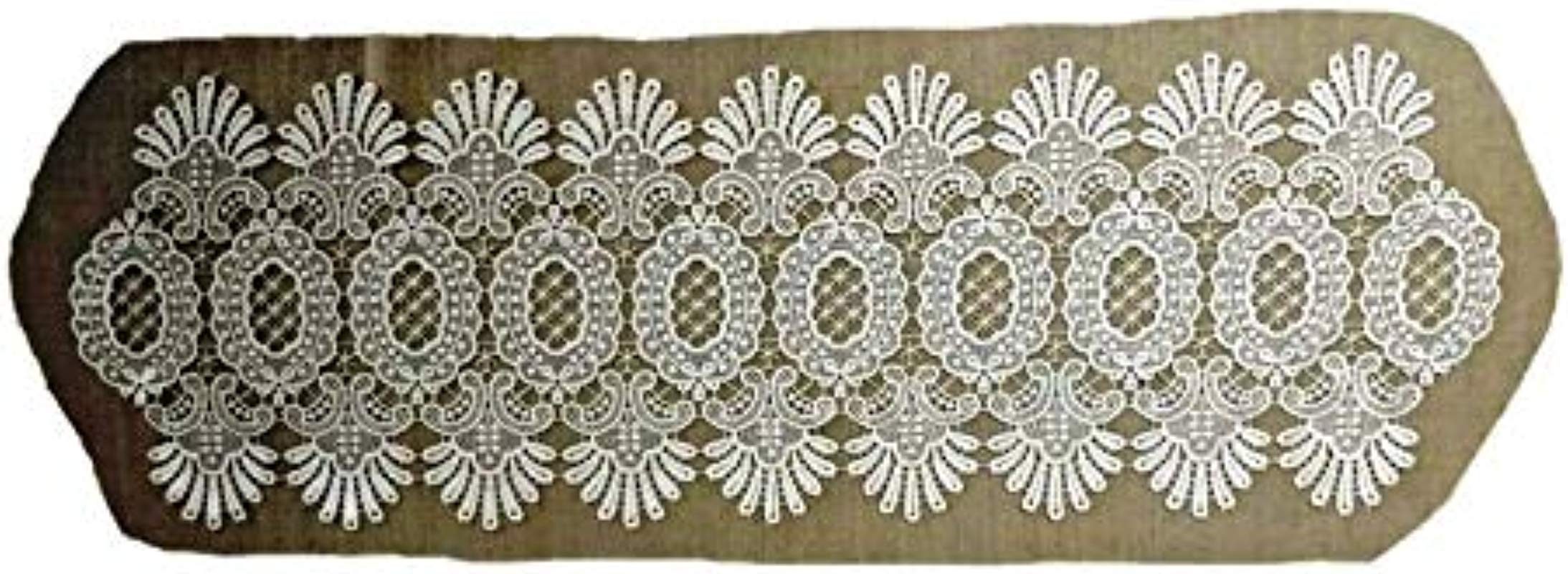 Doily Boutique Table Runner Narrow In Antique White Victorian Lace Size 10 X 60 Inches Handmade