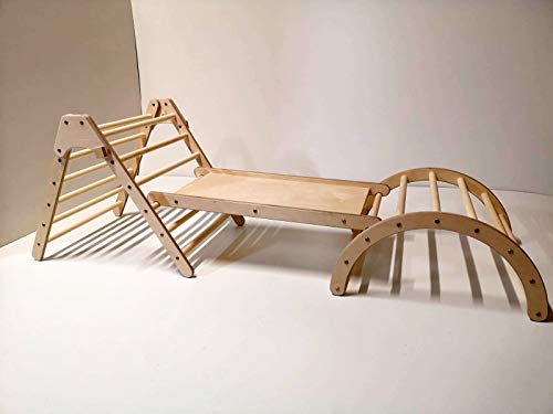 """""""N/A"""" Set of Montessori Foldable Pikler Triangle, Sliding Board and Pikler Arch – Wood Climbing Structure for Kids"""