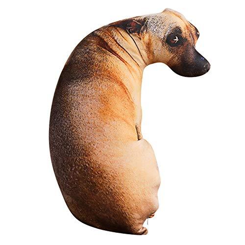 Almohada HCGS 3D Vivo Impreso Cuerpo Completo Forma de Perro Animal Lobo Perro Lindo Moderno Oficina Abrazo Regalo cojín sofá cojín Rojo 70 cm