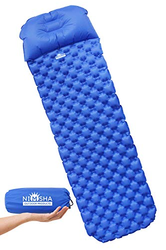 professional The NIMSHA Ultralight Camp Air Sleeping Pad is a compact air mattress with pillows and a carry bag …
