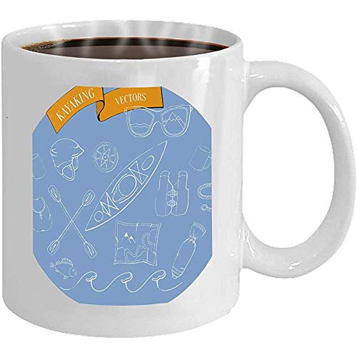 Kaffeetasse Kajak Set blau Hintergrund Wassersport Reise ico