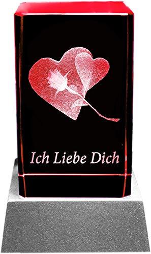 Kaltner Präsente Stimmungslicht – Ein ganz besonderes Geschenk: LED Kerze/Kristall Glasblock / 3D-Laser-Gravur Herz Rose ICH LIEBE DICH
