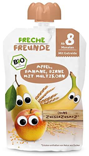 FRECHE FREUNDE Bio Beikost Quetschie Apfel, Banane, Birne mit Multikorn, Babynahrung ab dem 8. Monat, vegan, 6er Pack (6 x 100g)