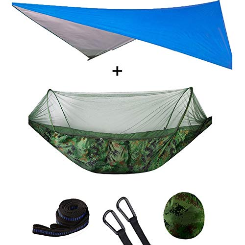 DFYUTJ Hammock outdoor indoor garden Outdoor Automatic Quick Open Mosquito Net Hammock Tent With Waterproof Canopy Awning Set Hammock Portable Pop-Up (Color : Camouflage blue awni)