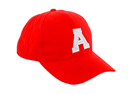 Morefaz - Gorra de béisbol roja infantil unisex, diseño con letras de A - Z multicolor a Regular