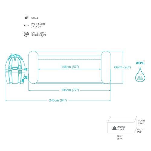 Bestway 54148 Spa gonflable Lay-Z-Spa™ Paris, 4/6 places, diamètre 196 x 66 cm, 87 Airjet™, éclairage led chromothérapie, couverture isolante, filtration à cartouche, diffuseur Chemconnect™