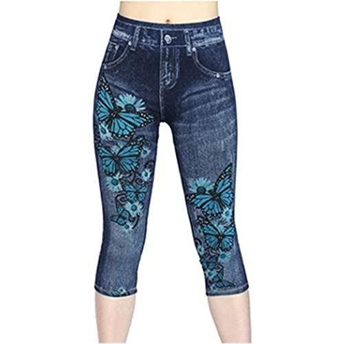 N\P Pantalones vaqueros de mujer Leggings Stretch Print Short Leggings Pantalones de verano
