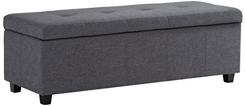 Simpli Home Castleford 48 inch Wide Rectangle Lift Top Storage Ottoman in Upholstered Slate Grey Tufted Linen Look Fabric with Large Storage Space for the Living Room, Entryway, Bedroom, Contemporary
