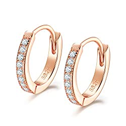 【High Quality Material】: This Small Hoop Earrings is made of 925 Sterling Silver & AAA Cubic Zirconia. High Polished, Rose Gold Plated. Nickel-free, Hypoallergenic, and Shiny Forever. Perfect to keep as a Daily Jewelry. Our Silver Earrings are suitab...