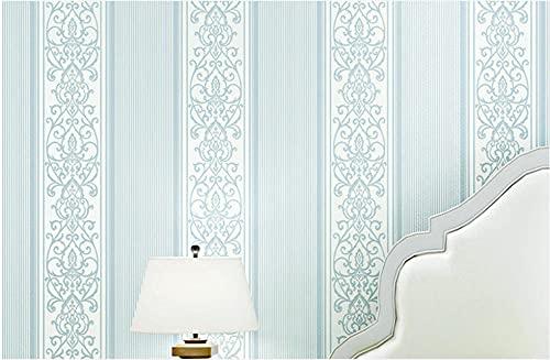 3D Papel Pintado No Tejido 9,5 m x 0,53 m Rayas verticales europeas Papel de Pared para Sala de Estar Habitación Cocina Comedor Fondo de TV, Azul claro