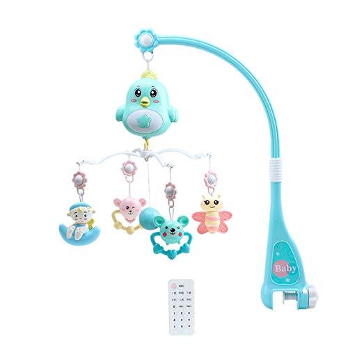 SODIAL Babybett Mobile Multifunktionale Musik Krippe Rassel Spieluhr Nachtlicht Fernbedienung Neugeborene Schlafbett Spielzeug Blau
