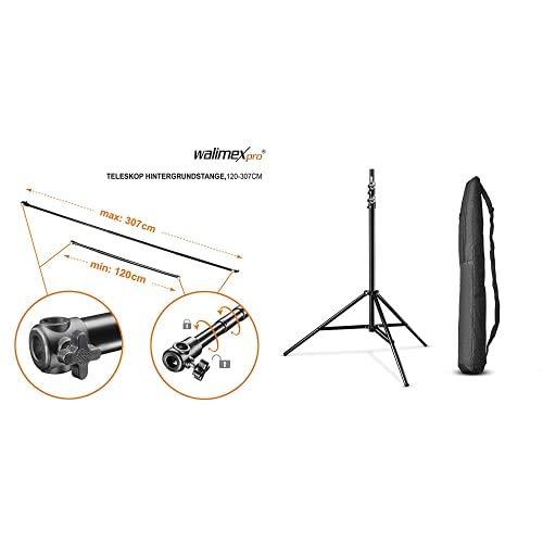 Walimex 16336 Varilla telescópica para telón de Fondo (120 307 cm), Negro + Walimex Pro WT-806 Soporte de luz (con amortiguación de Muelle) con Bolsa