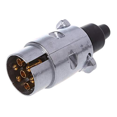 YUNB 7 Polos Conector de cableado de 7 Clavijas del Enchufe de Remolque de Servicio Pesado Pin Redondo de 12 V Enganche de Remolque Remolque Caravana de Camiones Plug