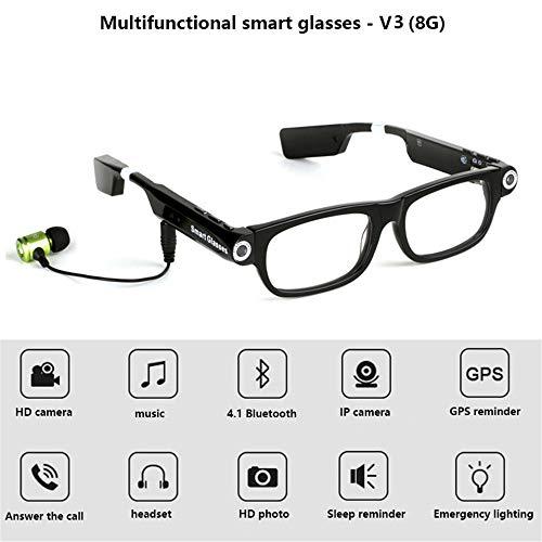 RENYAYA Gafas Inteligentes Cámara de Video Auricular Bluetooth 4.1 Sincronización de Llamadas de teléfono Manos Libres Aviso de GPS Música Alarma de sueño para teléfonos,8G