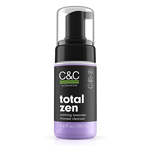 C&C by Clean & Clear Total Zen Calming Lavender Mousse Facial Cleanser to Remove Dirt, Relaxing Oil-Free Face Wash for Sensitive Skin, Not Tested on Animals, 3.4 fl. oz.