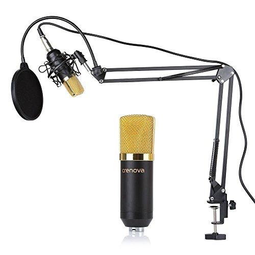 Set de Micrófono, Crenova MC-05 Micrófono condensador Kit Profesional Estudio de Difusión de grabación del micrófono de condensador + Suspensión de tijera del brazo del soporte + kit de suspensión + Filtro + Mic de tipo bola de espuma Cap