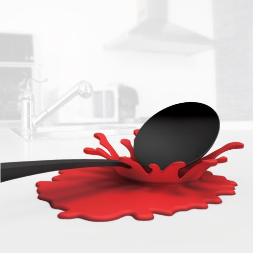 Splash-shaped Red Spoon and Spatula Rest